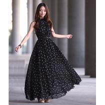 Vestido Longo Bolinha Clássico Verão - Pronta Entrega