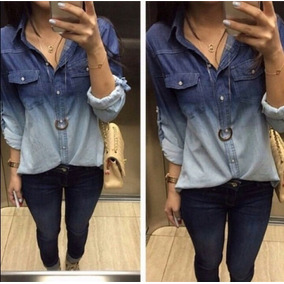 Camisa Jeans Bicolor Degrade Botões Charmosa