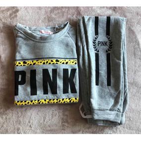 Conjunto Pink Mujer Buzo Pantalon Talle S M Gris Animal Prin
