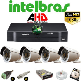 Kit Dvr Stand Alone Intelbras 8 Canais 4 Câmeras Ahd 2.0 Mp