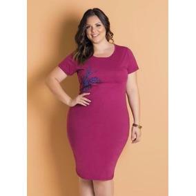 Vestido Tubinho De Algodão Púrpura Plus Size