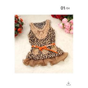 Vestido Chaleco Nena Importado Piel Leopardo Con Cinto