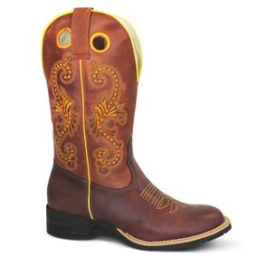 Bota Country Texana Lady Silver Bico Redondo 100% Couro