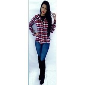 Blusa Camisa Feminina Xadrez Flanelado Manga Longa