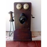 Antiguo Teléfono De Madera Para Pared Marca Kellogg