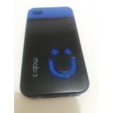 Capa Capinha Case Iphone 4/4s Azul/ Preta Mob
