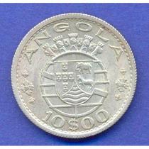 Angola 10 Escudos 1955 Plata * Colonia Portuguesa *