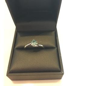 Anillo Oro Blanco 9 K Con Diamante Natural Azul 0.17 Ct