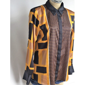 Camisa Social Retrô Vintage Calvin Klein Seda Lenço Tam.42