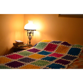 Acolchado, Manta Artesanal Tejido A Mano, A Crochet