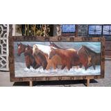 Pintura Oleo Sobre Tela Estampida De Caballos Estilo Antiguo