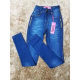 Calça Jeans Cintura Alta Palazzi Detalhe Em Ziper
