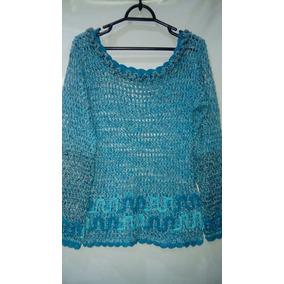 Blusa Feminina De Fio Tricô Vazado Azul Tm/ M