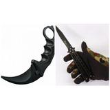 Kit Canivete Butterfly Faca Borboleta + Karambit Black Hawk