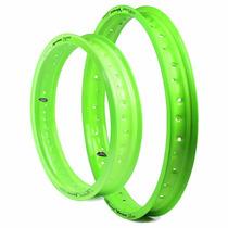 Par Aro Alumínio Motard Viper Biz Ou Pop - Verde Neon
