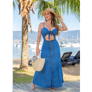 Vestido Sol Jeans Longo Abertura Frontal Com Lycra Azul