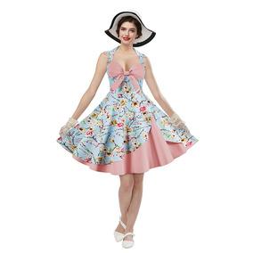 Zaful Mujer Vestido Vintage Floral Impresión Elegante