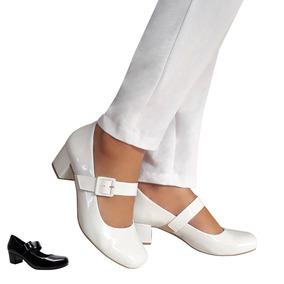 Sapato Branco Preto Boneca Noiva Enfermagem Salto Baixo