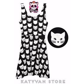 Vestido Calavera Esqueleto Gatos Moda Asiatica Grunge