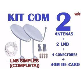 Kit 2 Antenas Banda Ku + Lnb Simples+cabo Rg6 (completa)