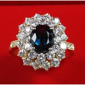 eeef518dd5f0a Belíssimo Anél Princesa Kate Safira E Diamantes Ouro 18kt - Anéis ...