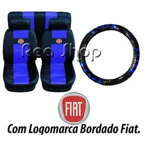 Palio Jogo De Capas De Bancos Carro Fiat + Capa Volante Azul