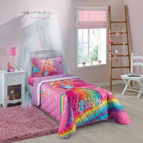 Colcha Matelassê Barbie Reino Do Arco-íris Rosa 1 Peça -