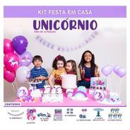 Kit Festa Unicórnio Happy Day Festa Em Casa Decoração