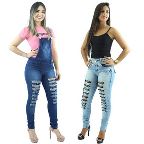 Kit De Macacão Feminino Jeans + Calça Feminina Skinny Jeans
