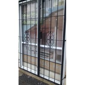 Puerta Balcon Aluminio Blanco 120x200 Con Vidrios+ Reja