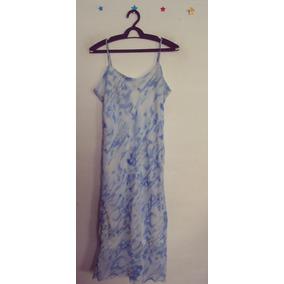 Vestido Azul Estampado Forrado Alcas Cód. 90