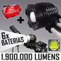Farol Bike Lanterna Led Bicicleta T6 Pac 6 Baterias + Alerta