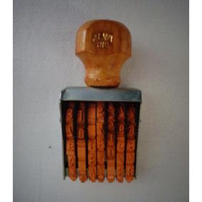 Carimbo Data Madeira Metal Alva Rio Antigo Propaganda