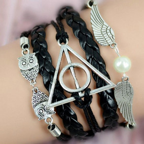 Pulseira Couro Harry Potter Relíquias Da Morte Preta