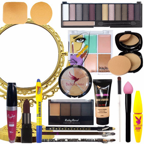 Combo De Maquiagens Pincéis Necessaire Espelho - 22 Itens