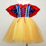 Vestido Infantil Fantasia Princesa Branca De Neve+ Capa