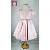 Vestido Infantil Daminha Rosa Claro Rendado Tamanho 04 Ao 16