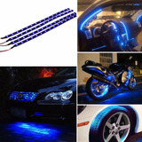 1pcs 30cm Tira Led Flexible Azul 15 Led Carro Moto C0136
