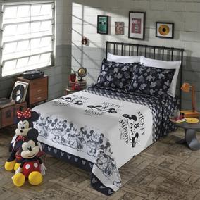 Kit Colcha De Casal Piquet Mickey E Minnie 3 Peças Disney
