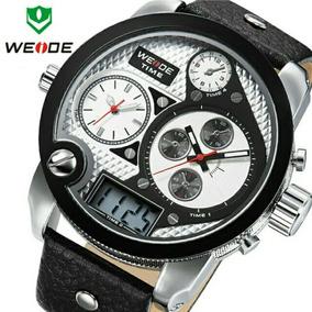 2015 Weide Marca Men Sport Relógios Militar Couro Genuíno Im