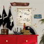 Adesivo De Parede Pirate Map Dry Erase Giant Wall Decal Room