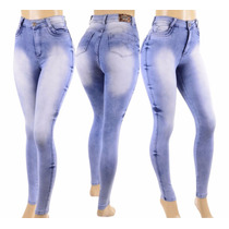 Calça Corpete Jeans Cintura Alta Strech Elastano Hotpants