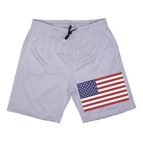 Short Masculino Com Estampa Academia Bermuda Bandeira Eua Us