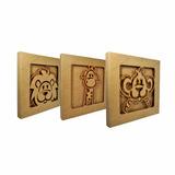 Trio De Quadro Decorativo Safari - 29x3,5 - Mdf Madeira Cru
