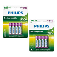 8 Pilhas Recarregaveis Philips Aaa 1000 Mah Potente Rtu Nfe