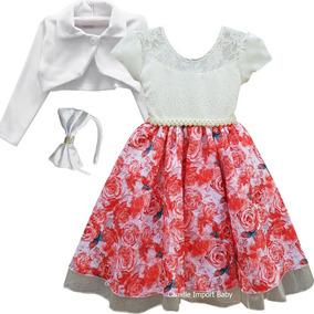 Vestido Festa Infantil Luxo Princesa Realeza Daminha Floral