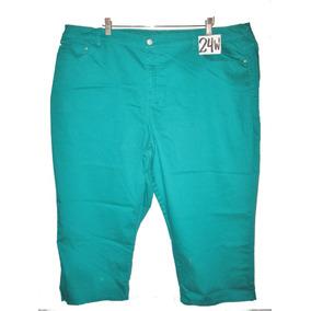 Pantalon Capri Verde Talla 24w Spandex Jaclyn Smith