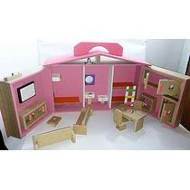 Casa Casinha De Boneca Barbie Polly Maleta + Brinde Móveis!!