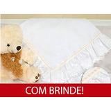 Manta Bebê Piquet Rendada 100% Algodão Unissex Branca E Bege