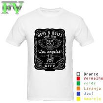 Camisa Baby Look Guns N Roses Jack Daniels A3 Obm Branca